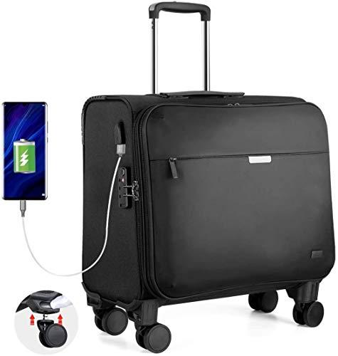 Hanke Business Trolley mit 4 Austauschbare Rollen TSA-Zollschloss USB-Ladeanschluss 15,6 Laptopfach Business Laptop Koffer 36L 18 Zoll