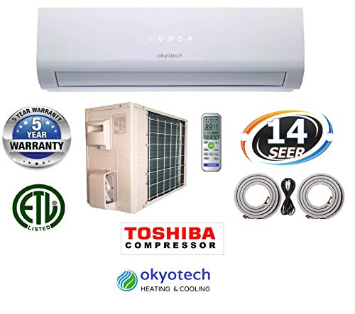 okyotech 24,000 BTU 2 TON 14 SEER Ductless Mini Split Air Conditioner Cool & Heat with Heat Pump with Full Installation Set