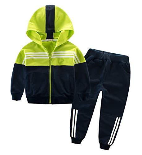 Naber - Chándal deportivo para niños con cremallera y pantalones, para niños de 4 a 13 años Verde verde 4-5 Años