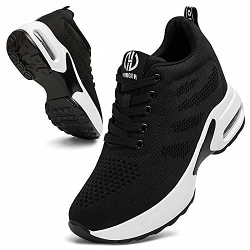 GURGER Cuña Zapatillas Mujer Wedge Zapatillas de Deporte Plataforma Sneakers Cuña Tacón Oculto 7CM Negro 38 EU
