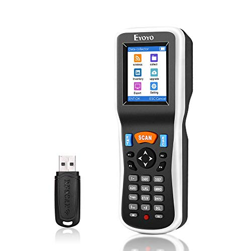 Eyoyo 1D Barcode-Scanner, Handheld Datensammler, Barcodeleser, mit USB-Empfänger, 2,2 Zoll LCD-Display für Geschäft, Supermarkt, Lager