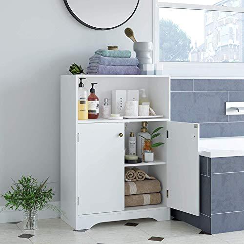 HOMECHO Badschrank Badezimmerschrank mit Regal Badkommode weiß mit Doppeltür 2 verstellbare Einlegeböden Regal Aufbewahrung Sideboard, Flurschrank, Beistellschrank 60 x 87,5 x 30 cm (B x H x T)