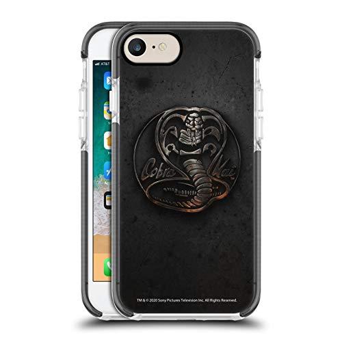 Head Case Designs Carcasa para teléfono móvil Cobra Kai con logotipo metálico, color negro, antigolpes, de gel, compatible con Apple iPhone 7 / iPhone 8 / iPhone SE 2020