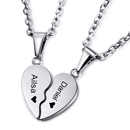 MEMEDIY Personalized Heart Pendant Necklace Customized Name For Couples Men Women Engraving Wedding Anniversary Gifts for Boyfriend Girlfriend Stainless Steel Lovers Jewelry