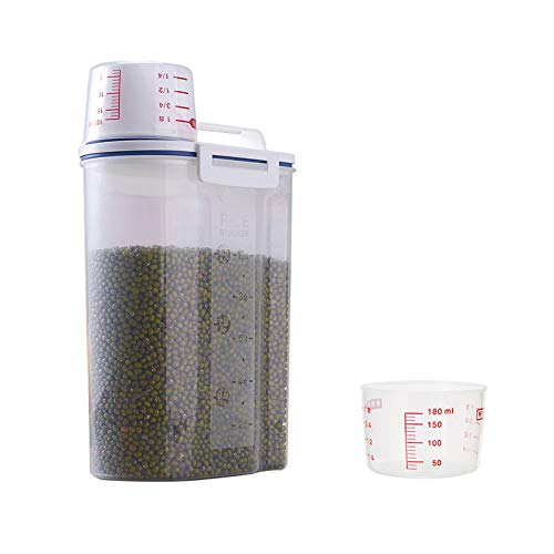 2L / 2KG Recipientes para Cereales Almacenamiento, Dispensadores de Cereales, Cereales sin BPA, con Taza Medidora y Pico, Tapa Dosificadora Ajustable, Plástico sin BPA, para Arroz, Harina, Trigo
