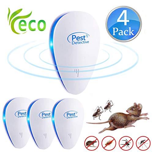 Repellente Ultrasuoni,Pest Control Repeller Plug in Uso Interno, Miglior Disinfestatore per Insetti, Topi Insetti, Formiche, Zanzare, Ragni, Roditori e ROA. Nessuna Trappola (4-Pack) (Azul)