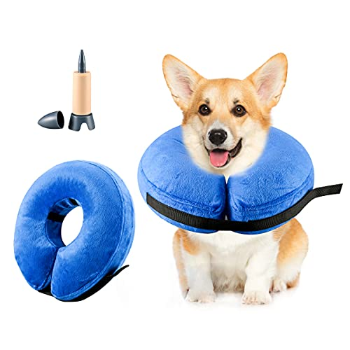 Sanwillco Dog Cones for Medium Dogs, Inflatable Dog Collar for After Surgery, Suitable for Medium Pets, Light, Adjustable Dog Donut Cone, Soft Dog Cone Pillow, Not Block Vision (M, Grey)