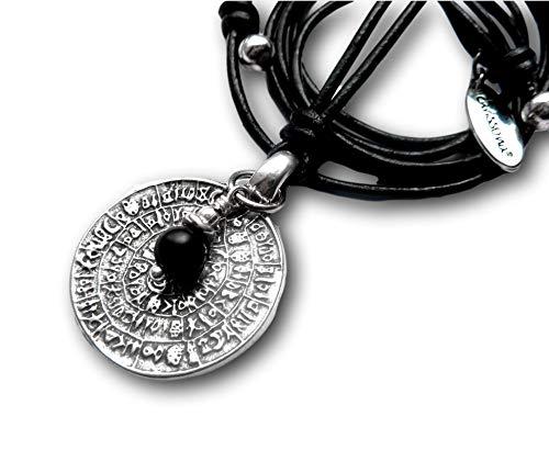 chrissona® Kette mit Münze und Onyx, Replik Phaistos Scheibe, versilbert, Geschenk, Frau, Mann, schwarze Lederkette mit Schiebeknoten