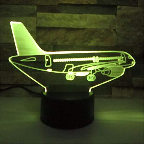 LBJZD nachtlicht Air Plane 3D Nachtlicht Led Illusion Jet 3D Lampe Led 7 Farbwechsel Usb Remote Touch Mädchen Schlafzimmer Usb Led Kinder Lampe Mit Fernbedienung