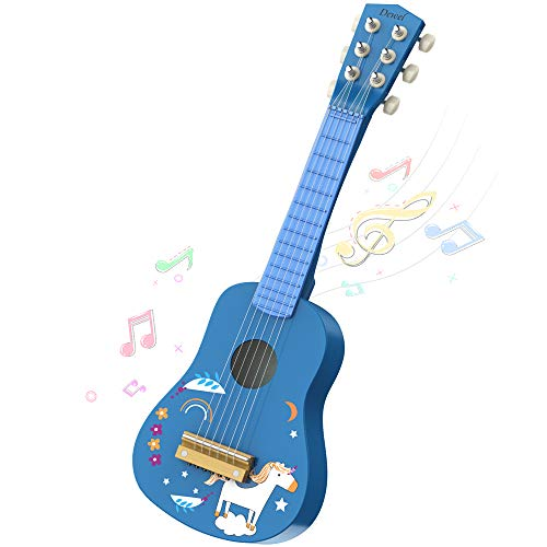 DEWEL ギター 子供用 木製 楽器 6弦ギター 誕生日プレゼント ミニギター 21インチ 持ち運び 知育玩具 楽器玩具 おもちゃ かわいい 写真用 撮影用 運指練習 (七五三や入園卒園進学など)ピック 予備弦付き