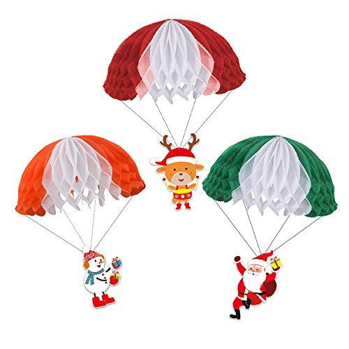 Weihnachten Fallschirm Santa Schneemann Fallschirm Hängende Aufhängung Fliegender Fallschirm 3 Stück JLS