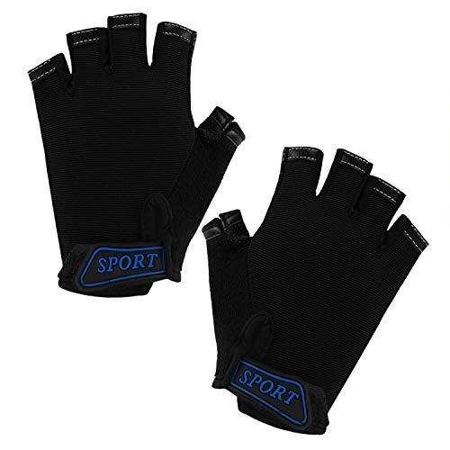 IPENNY Halbfinger Handschuhe Kinder rutschfest Hohe Elastizität Radsport Handschuhe für Radfahren Schlittschuhlaufen Atmungsaktive Sporthandschuhe Sport Fitness