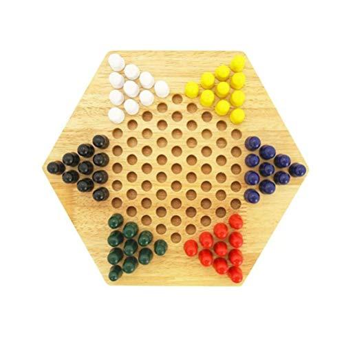 NUOBESTY Chinesisches Schachspiel, 1 Stück, Holz-Schach-Set, Brettspiel, chinesische Karos für Kinder, Erwachsene (bis zu sechs Spieler)