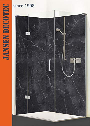 Eck-Duschrückwand, 2 Segmente je 90x200cm, Motiv: Black-Marmor- Optik - KOSTENLOSER Zuschnitt !
