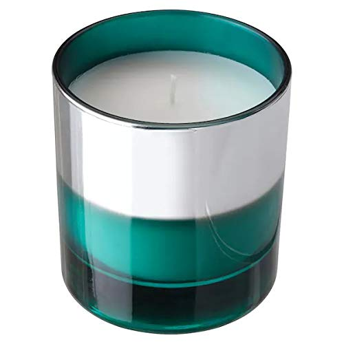 IKEA Hopfoga - Vela aromática en vaso de cristal con aroma a frutas y vainilla, turquesa/plata, 40 horas de combustión, 9,5 cm