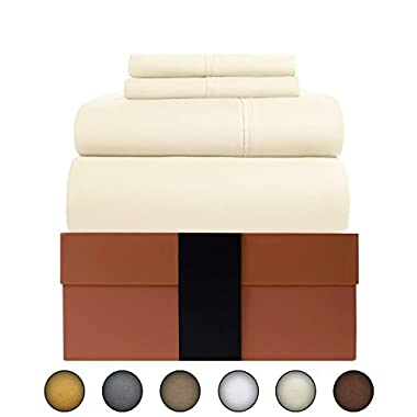 Urban Hut Egyptian Cotton Sheets Set (4 Piece) 400 Thread Count - Bedspread Deep Pocket Premium Bedding Set, Luxury Bed Sheets for Hotel and Home Collection Soft Sateen Weave (King, Pure Ivory)