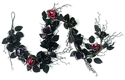 CraftMore Halloween Black Leaf and Rose Garland with Eyeballs