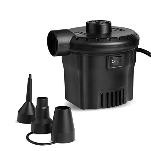 Deeplee Electric Pump 2020 Upgraded 130W High Flow 450L/min 0.65Psi Air Pump for Air Bed Mattress Inflatables Paddling Pool Beach Toys, AC 220-240V Quick-Fill Inflator Deflator with 3 Sizes Nozzle