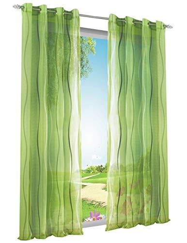BAILEY JO 1er-Pack Voile Gardinen mit Wellenförmig Druck Design Vorhang Lichtdurchlässig Vorhänge (BxH 140x245cm, Grün mit Ösen)