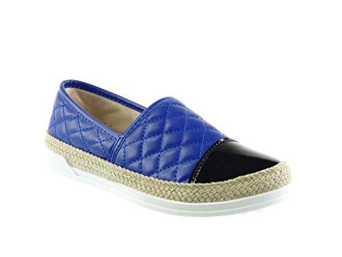 Angkorly - Damen Schuhe Sneaker Espadrilles - Slip-On - gesteppt Schuhe - Patent - Seil Flache Ferse 2 cm - Blau 151-16 T 39