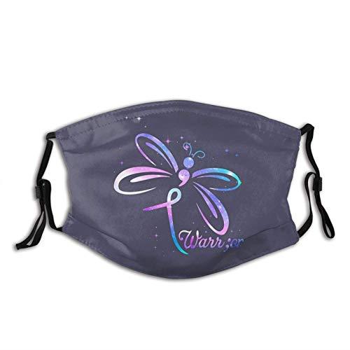 Masque facial de sensibilisation à la prévention du suicide papillon point-virgule réutilisable avec sac filtrant cadeaux unisexe cagoule animale Bandana