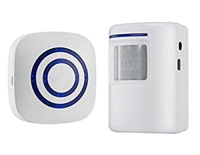Motion Sensor Alarm Wireless, Home Vistor Security Alarm Outdoor Chime Doorbell with 2 Plug-in Receiver and 1 PIR Motion Sensor Detector - 38 Chime Tunes - LED Indicator