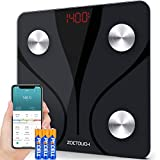 Bluetooth Body Fat Scale, ZOETOUCH Digital Bathroom Scales for Body Weight, BMI Smart Scale Machine, Step-On Technology,14 Measurements,Cloud Storage, Data Export, 400 lbs,Battery Included