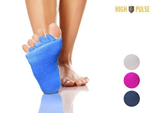 High Pulse Zehenspreizer Socken (2 Paar | Einheitsgröße) - Die sanfte Entspannung bei Hallux Valgus & Zehenfehlstellungen (2er Set Blau)