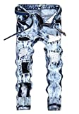 Amoystyle Men's Snow Washed Ripped Jeans Blue 167 Asian 42
