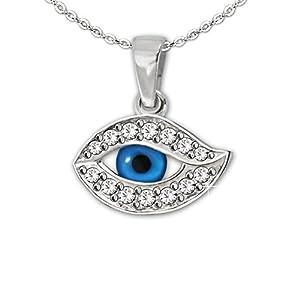 Clever Schmuck Set Silberner sehr kleiner Damen Anhänger sehendes Auge 8 x 14 mm blau viele Zirkonia weiß glänzend mit feiner Kette Anker 45 cm STERLING SILBER 925 im Etui blau