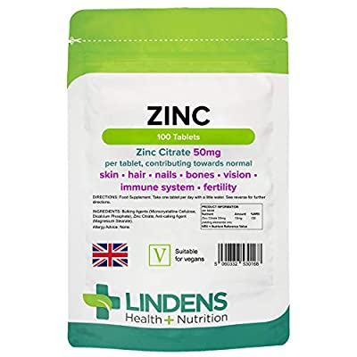 Zinc Citrate 100 x 50mg Tablets 1-a-day from Lindens