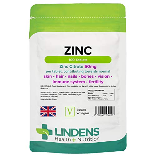 Lindens Zinc Citrate 50mg Tablets - 100 Pack - Supports Immune Function, Fertility and The Maintenance of Healthy Bones, Vision, Hair, Nails and Skin - UK Manufacturer, Letterbox Friendly