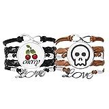 Bestchong Esqueleto Lovely Online Face - Pulsera de piel con correa de mano para Halloween, diseño de cereza, color marrón