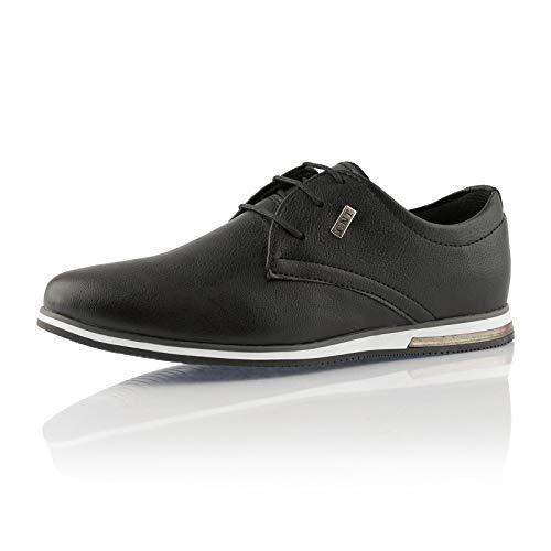 Fusskleidung® Herren Business Schuhe Casual Sneaker leichte Turnschuhe Schwarz EU 41