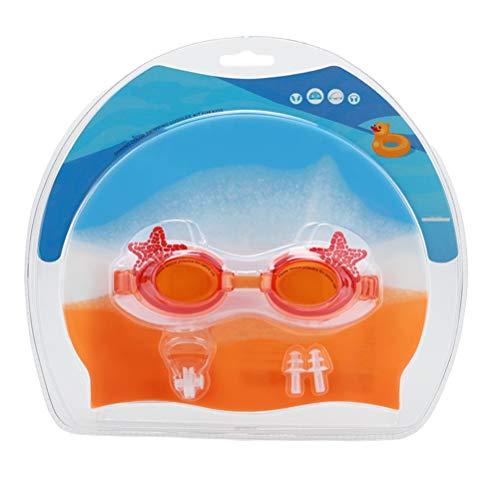 Abaodam Gorro de natación de silicona para niños, antivaho, gafas de buceo, clip para la nariz, tapones para los oídos para niños, suministros de natación (naranja)