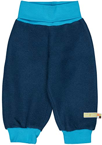 loud + proud Pantalones para bebés y niños de forro polar de lana orgánica (kbT), certificado GOTS. azulón 98 cm-104 cm