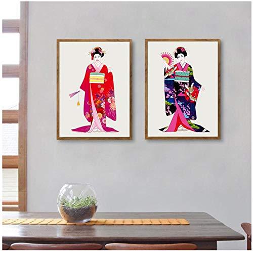 Terilizi Mooie Japanse meisjes in Kimono canvas kunstdruk poster wandafbeeldingen canvas schilderij traditionele wooncultuur -40 * 50 cm niet ingelijst-2 stuks