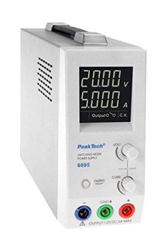 PeakTech Digtial Labornetzteil - Labornetzgerät 0-20V / 0-5A DC, stabilisiert, 1mA und 10mV Auflösung, 1 Stück, P 6095