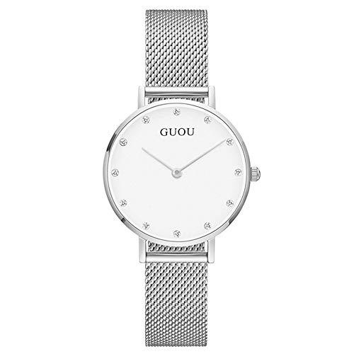 HWCOO Schöne Coole Uhr Mode Strass Paar Uhr Quarzuhr Netto Kettenuhr (Color : Women-White)