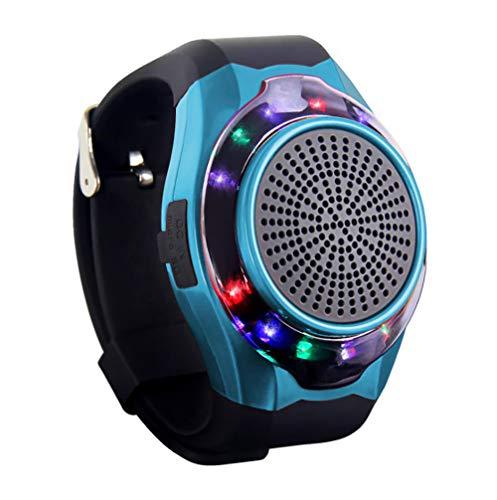 WWSUNNY Wireless Bluetooth Lautsprecher Armbanduhr Tragbare Sport Armband MP3-Musik-Player UKW-Radio Freisprechfunktion Telefon-Anti-Verlorene TF Karten-Unterstützung Remote-Selbstauslöser,Blau