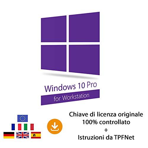 MS Windows 10 Pro Workstation 32 bit e 64 bit - Chiave di Licenza Originale per Posta e E-Mail + Guida di TPFNet® - Spedizione max. 60min