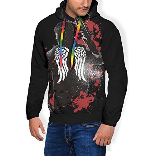 Walking Dead Daryl Dixon Flügel und Armbrust Herren Mode Sweatshirt Hoodie Kapuzenpullover Taschen plus Samt Gr. Large, Schwarz