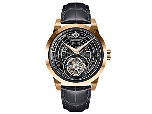 Memorigin Ventanas de la vida serie Tourbillon reloj correa negra