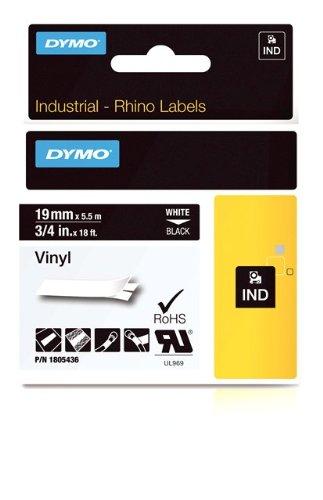 DYMO Rhino Adhesive Vinyl Label Tape, 3/4-inch, 18-foot Cassette, Black (1805436)