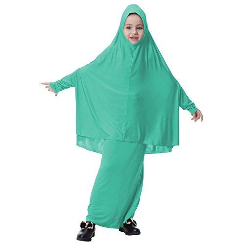 Hougood Moslim Jurken voor Meisjes Kids Abaya Sjaal Jurk Jurk Jurk Loose Volledige Lengte Hijab Jurk Robe Suit Set Midden-Oosten Arabische Islamitische Turks voor Cocktail Avond Party Bruiloft Kinderen Jurk