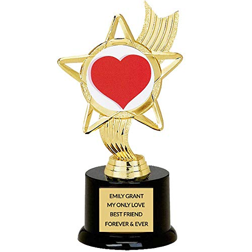 Custom Valentine's Day Heart Trophy for Galentine's Day, Your Spouse, Wife, Husband,Customize Free Engraving, Trophy Wife or Best Partner Award, 5.75 Inch Tall