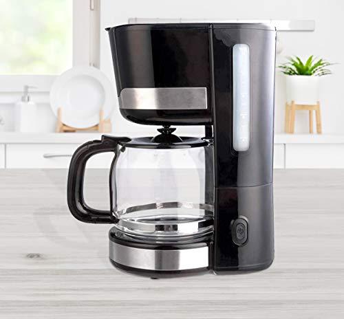 Kaffeemaschine 1,5 Liter Kaffeeautomat mit Permanentfilter , Messlöffel und Edelstahl-Applikationen schwarz 1000W