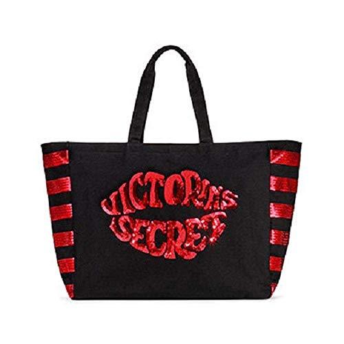 Victoria's Secret Tote Bag Weekender Black Red Lips Sequins Kiss Large