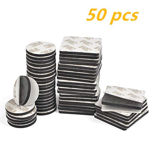 TIMESETL 50Stück Klebepads doppelseitiges Klebeband Schaumstoff EVA Quadrat (4cmx4cmx3mm) und Rund (3cmx3cmx3mm) Schaumband mit besonders starke Klebkraft - Schwarz