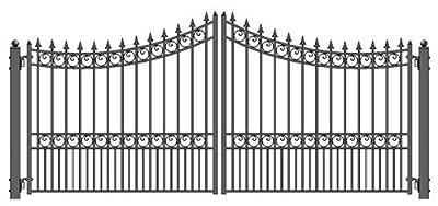ALEKO DG14MOSD Moscow Style Dual Swing Galvanized Steel Driveway Security Gate 14 x 6 Feet Black